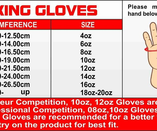 Workout Gloves Size Chart: USI Boxing Gloves Professional Competition India